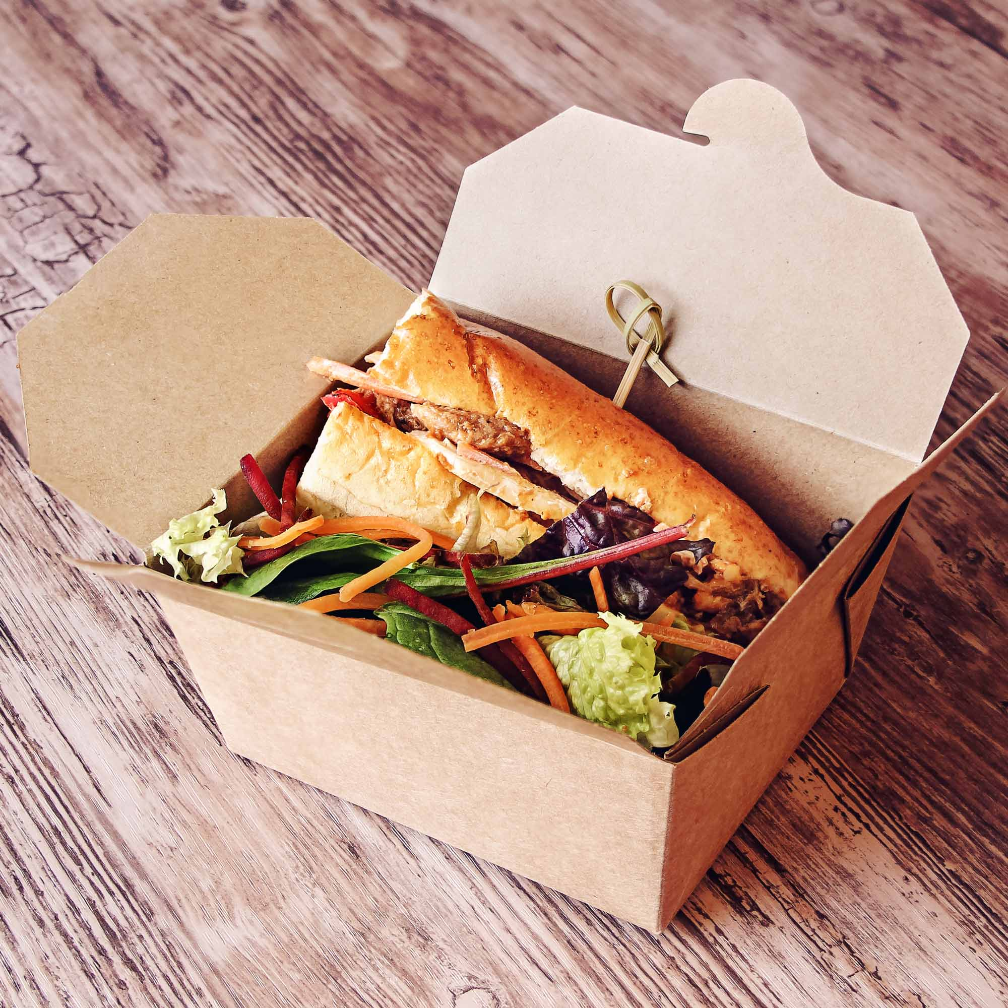 kraft compostable hot food to go takeaway box 125x115mm. Black Bedroom Furniture Sets. Home Design Ideas