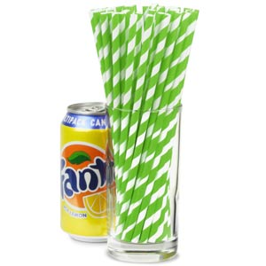 Green & White Striped Paper Straws 8inch