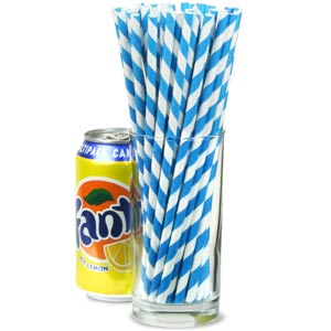 Blue Striped Paper Straws 8inch