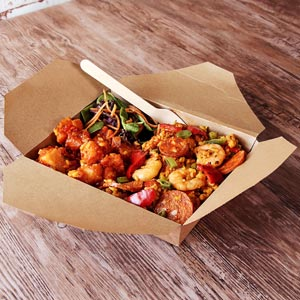 Kraft Compostable Hot Food Box 193 x 155mm