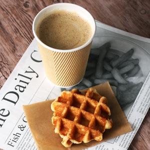 Kraft Ripple Disposable Paper Coffee Cups 12oz / 340ml