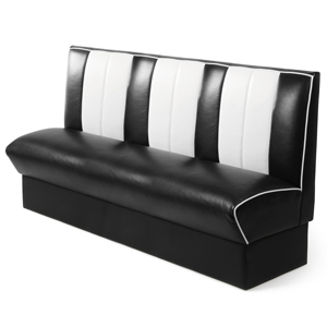 Retro Diner Booth Triple Seat Black