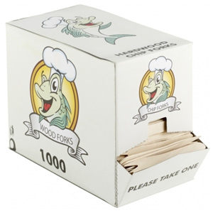 Birchwood Disposable Chip Forks in Dispenser Box