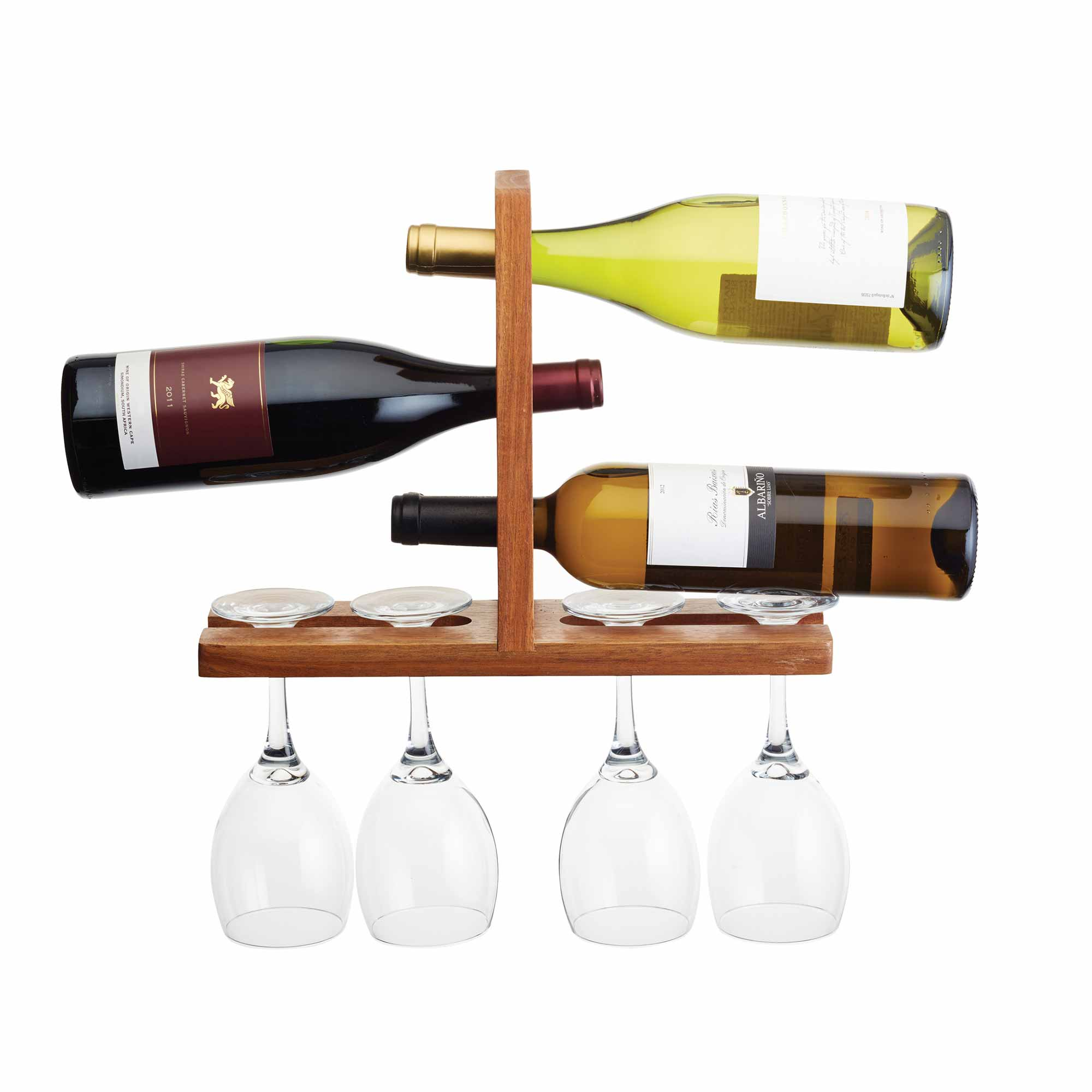Acacia Wall Mounted Wine And Glass Rack