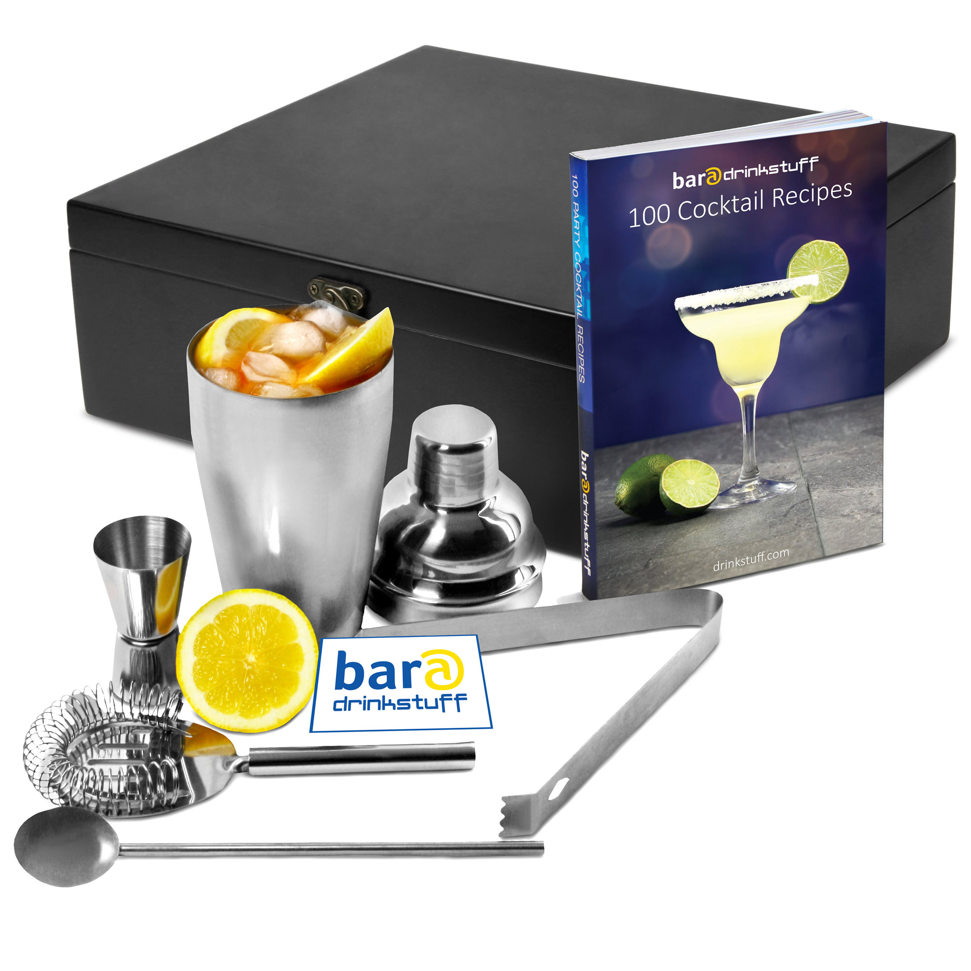 Cocktail Gift Set With 100 Recipes In Wooden Gift Box