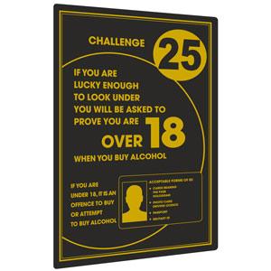 Challenge 25 Underage Drinking Wall Sign 26 x 17cm