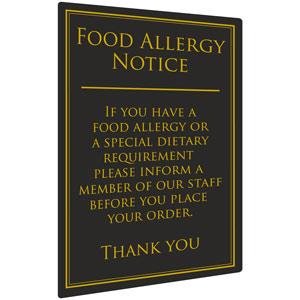 Food Allergy Notice 26 x 17cm