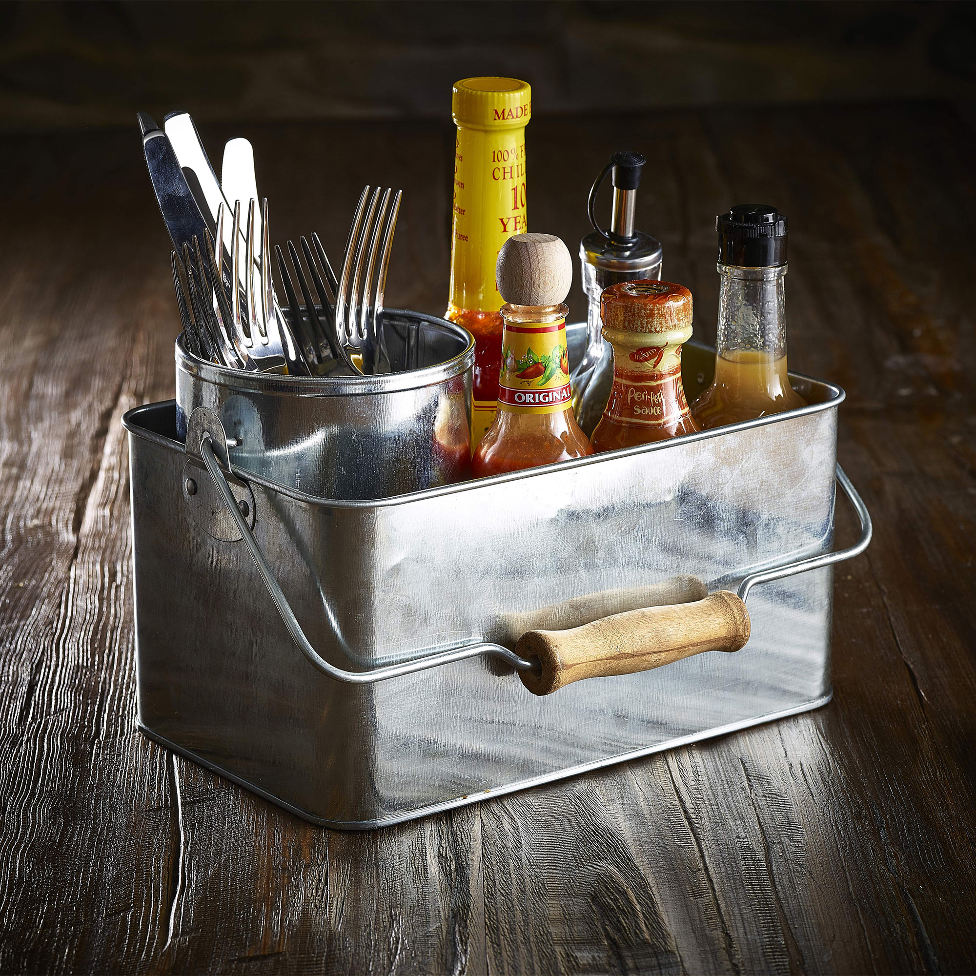 Genware Galvanised Steel Rectangular Table Caddy