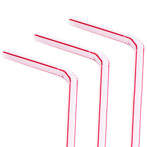Bendy Straws 8inch Red and White Stripe