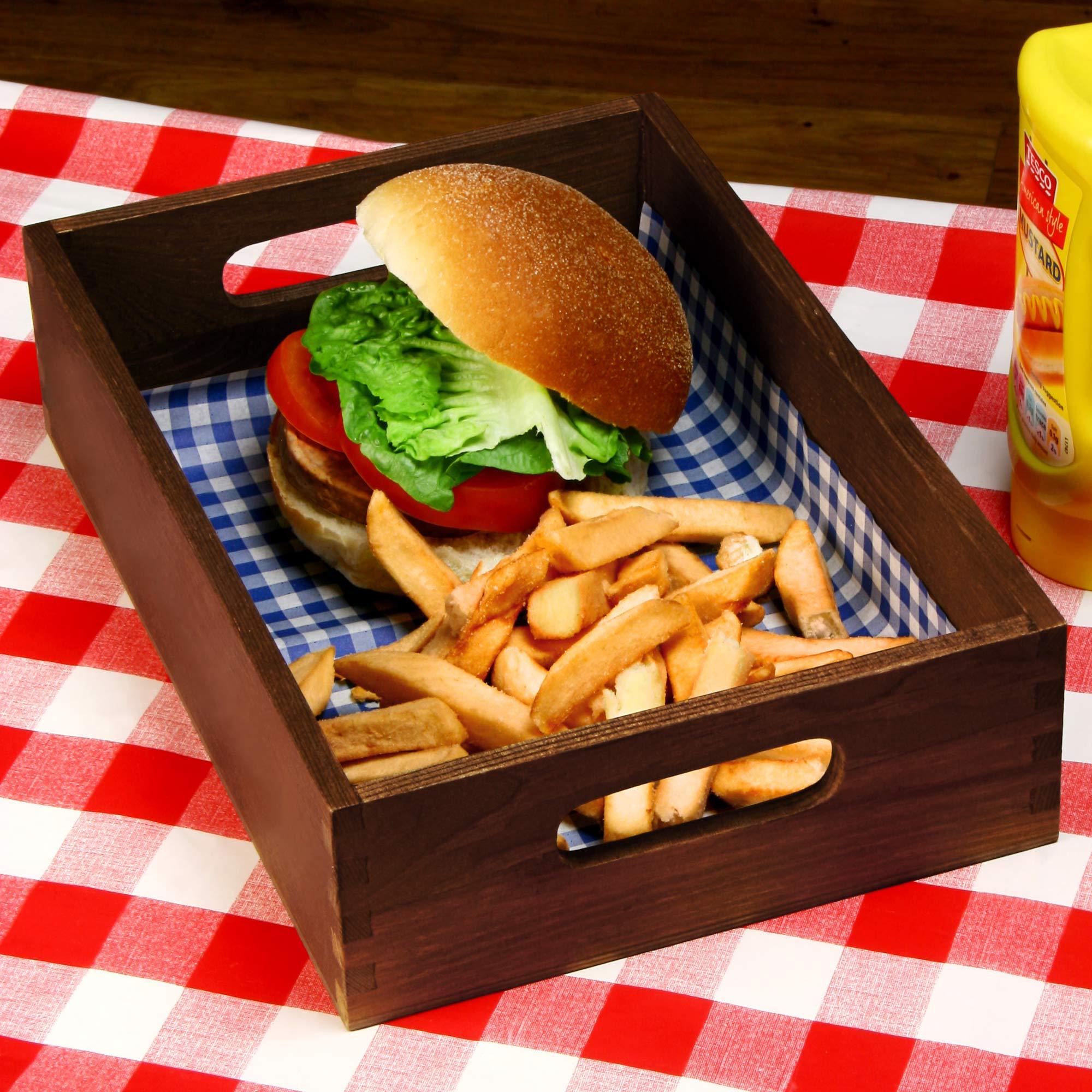 Wooden Burger Tray Dark Pine 28 X 19 X 6cm