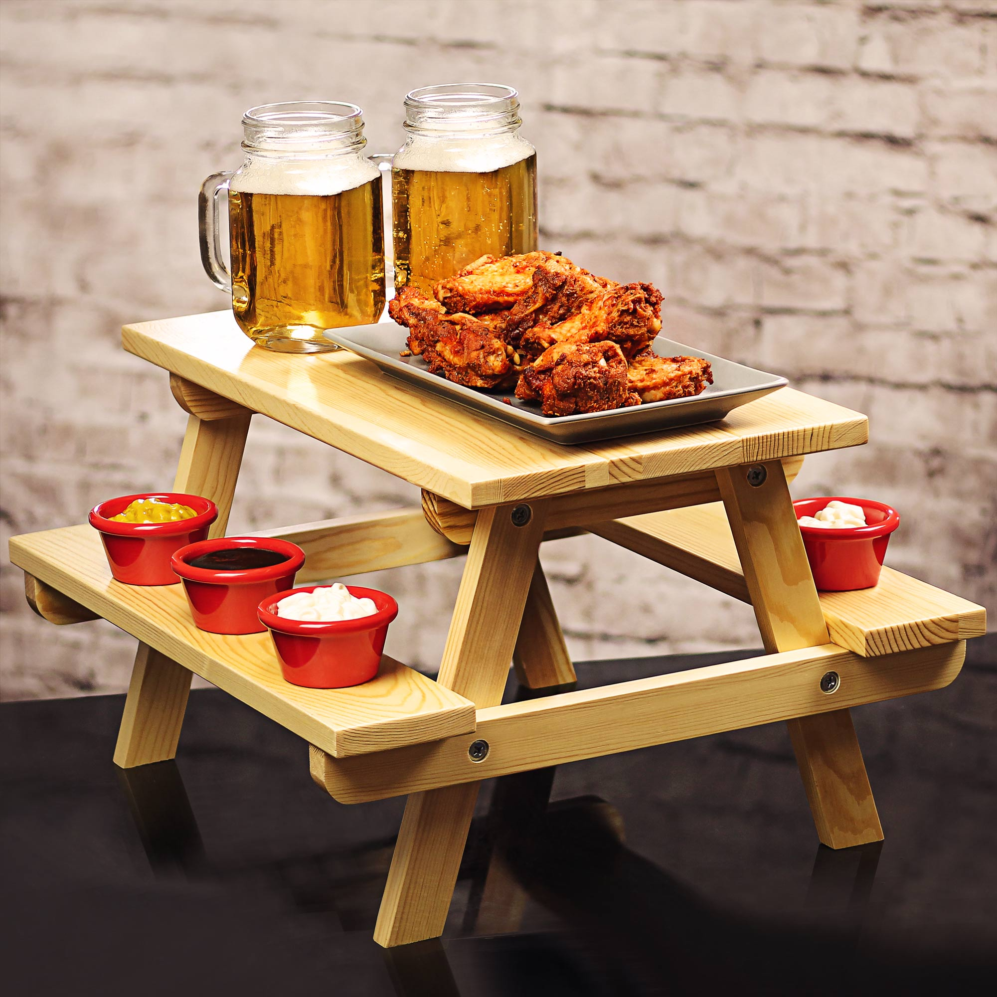 Miniature Pine Picnic Bench Serving Platter