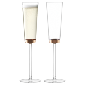 LSA Edge Champagne Flutes Rose Gold 5.6oz / 160ml
