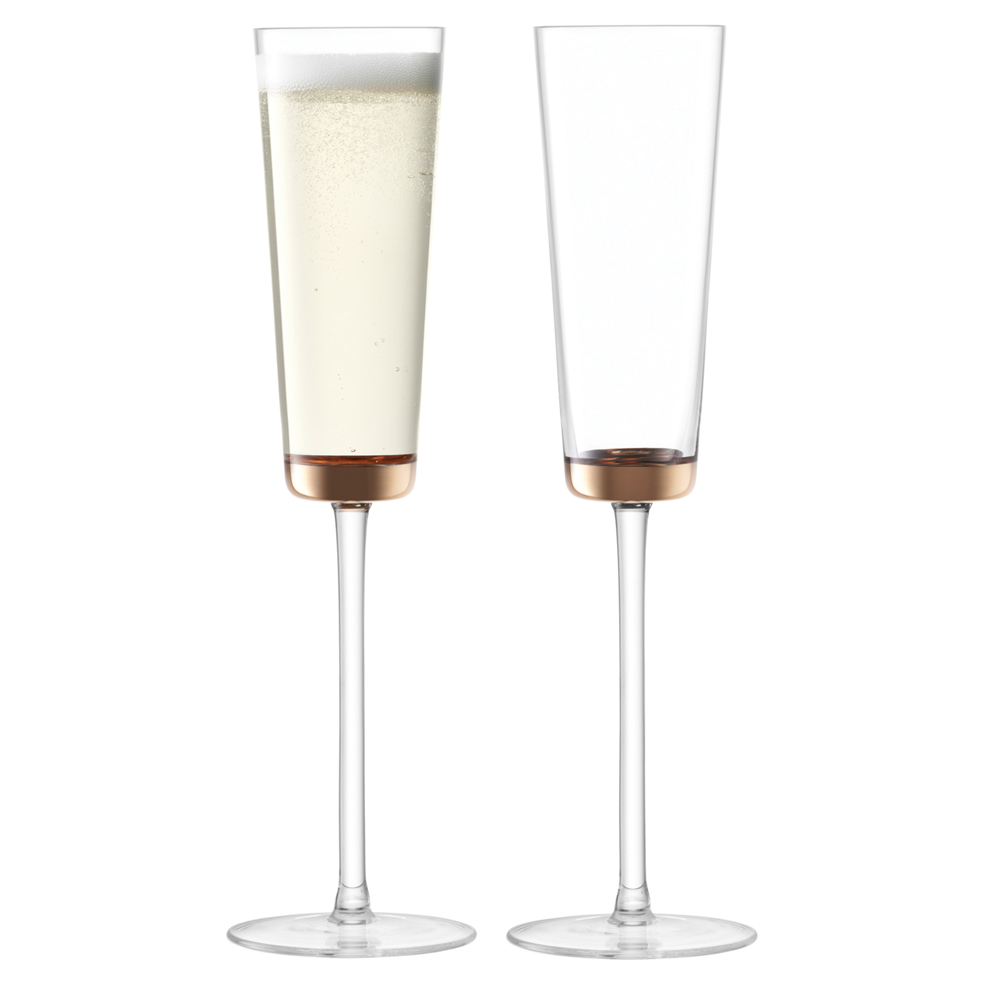 LSA Edge Champagne Flutes Rose Gold 160ml at drinkstuff