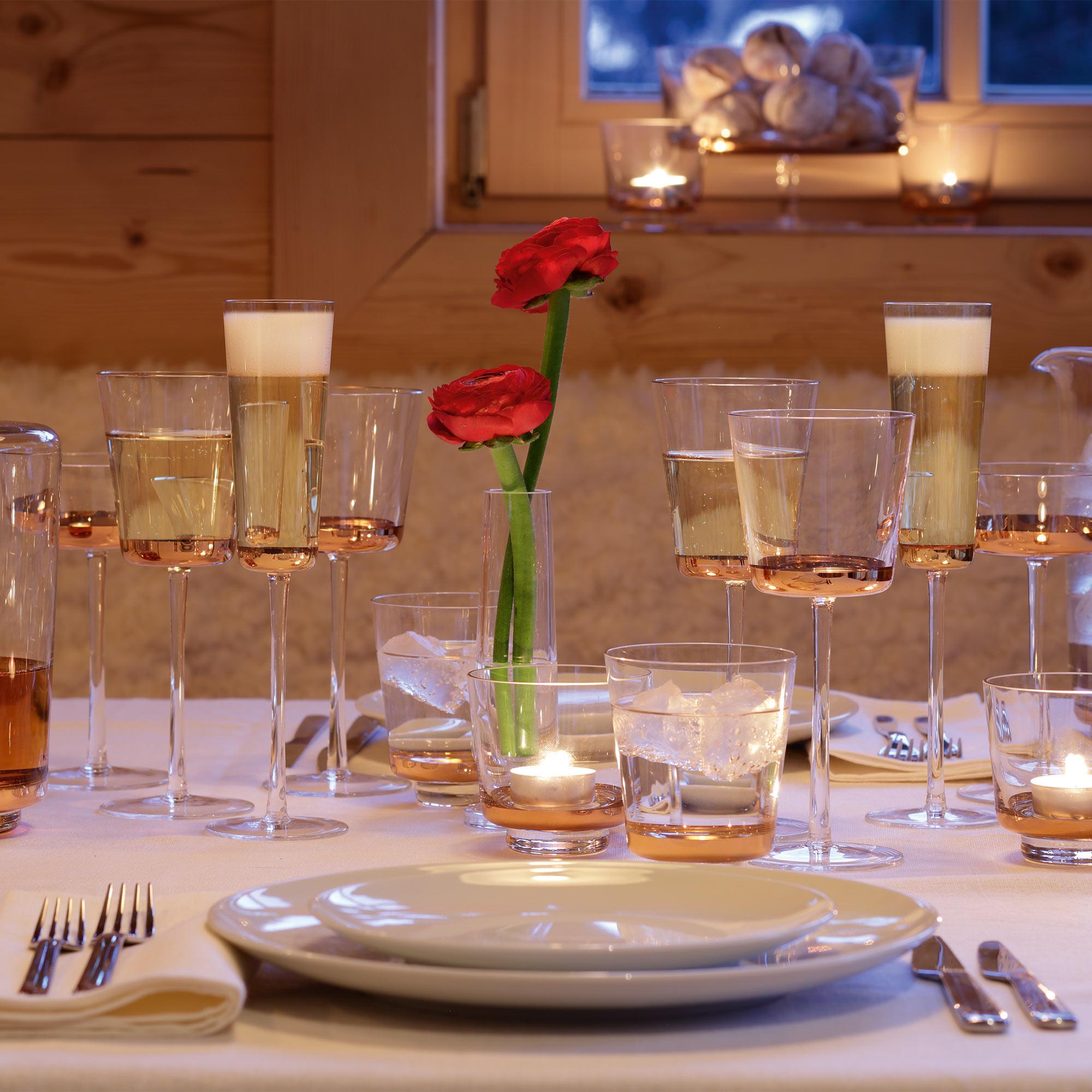 LSA Edge Champagne Flutes Rose Gold 160ml at drinkstuff