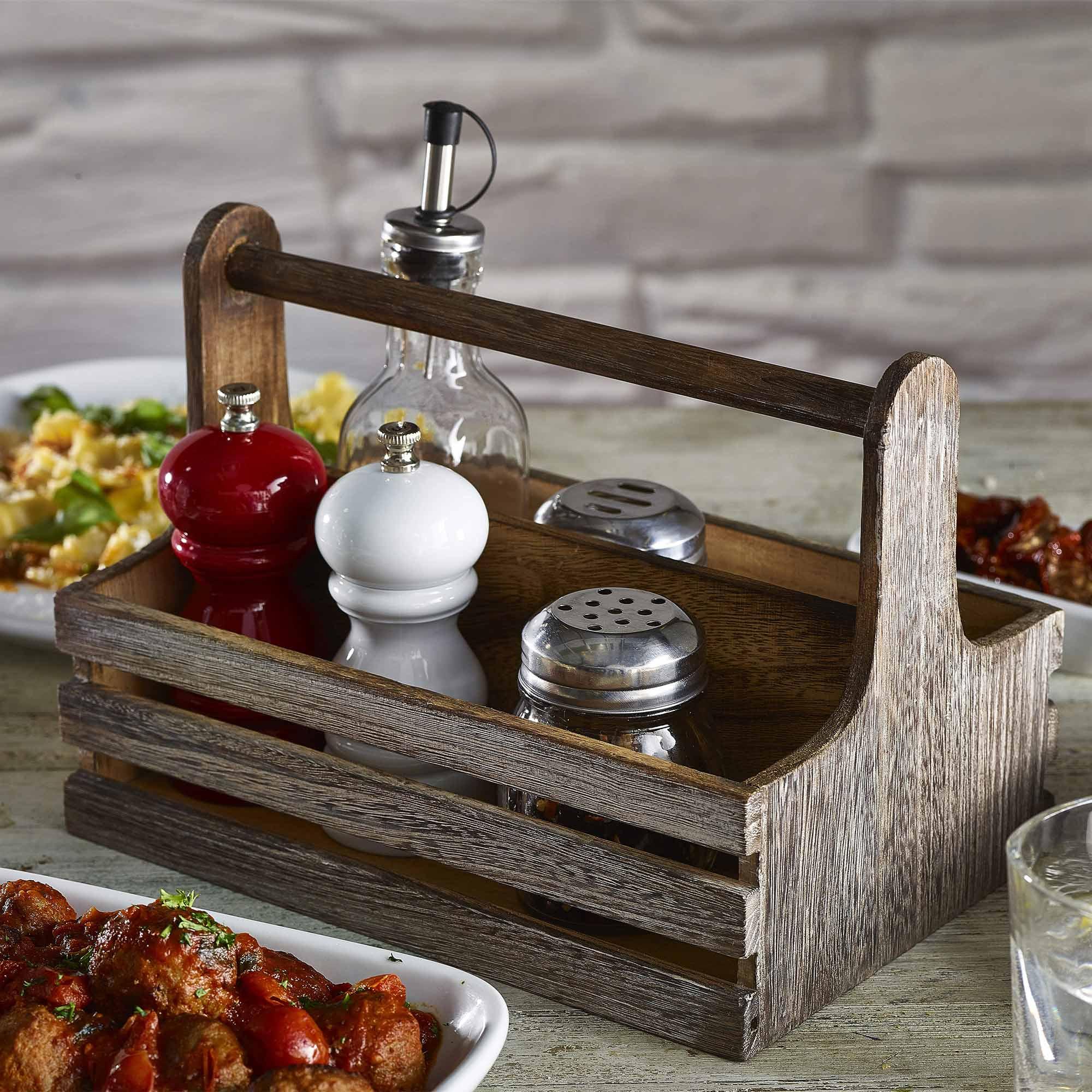 Genware Rustic Wooden Table Caddy
