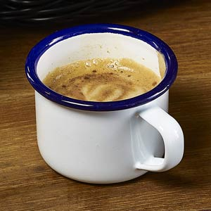 Blue Rim Enamel Espresso Mug White 5.5oz / 155ml