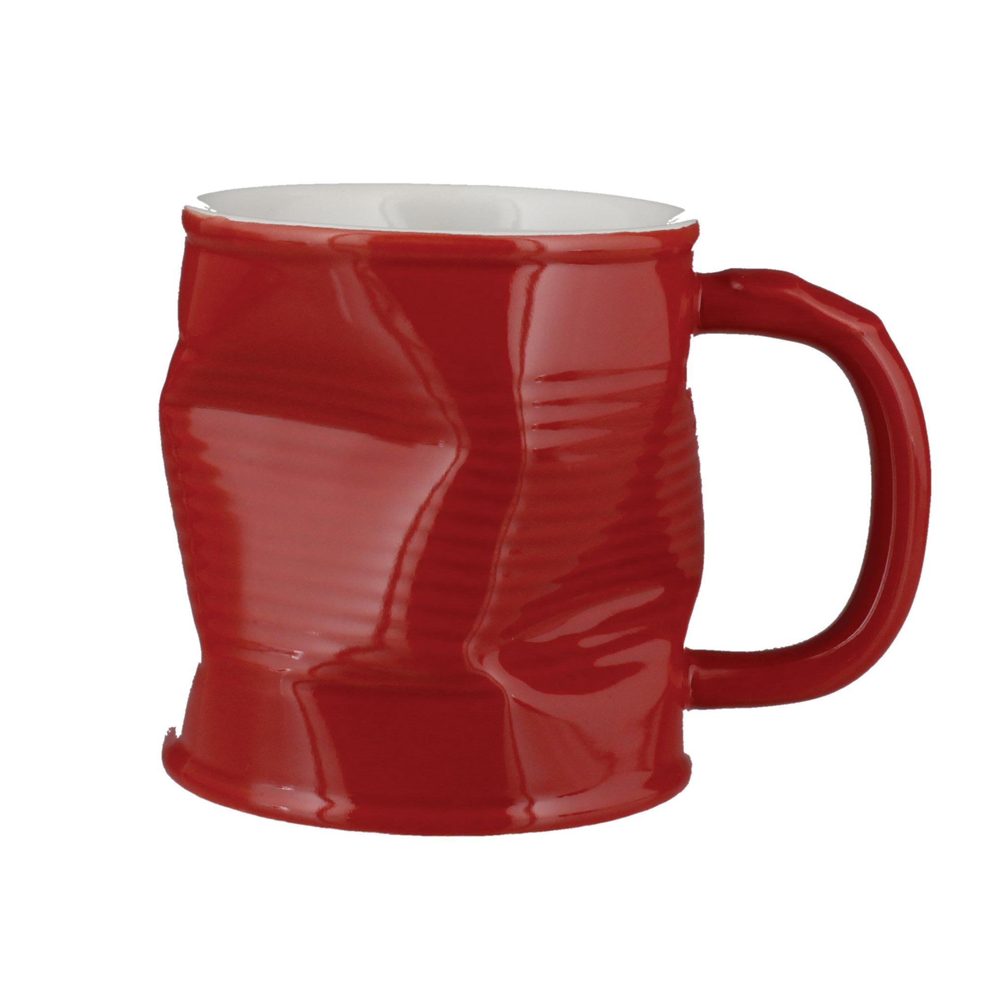 Artis Squashed Tin Can Ceramic Mug Red 220ml At Drinkstuff