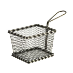Genware Mini Presentation Fry Basket Black 12.5 x 10 x 8.5cm