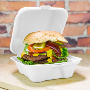 Clamshell Bagasse Takeaway Burger Box 6inch