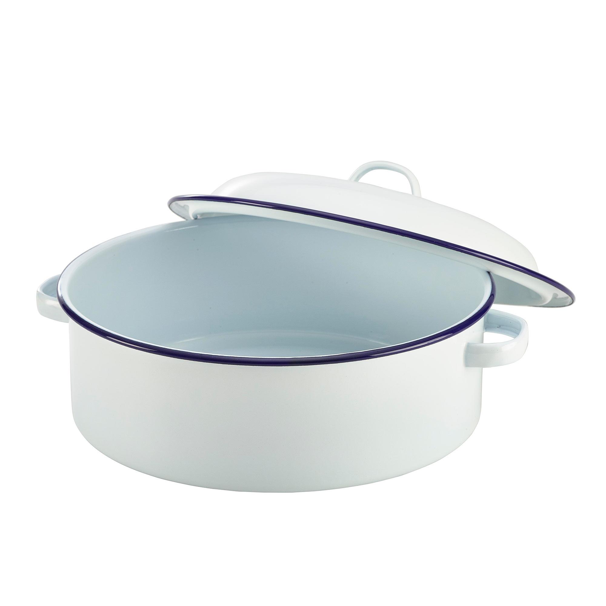 Enamel Coated White And Blue Roaster Dish 26cm At Drinkstuff