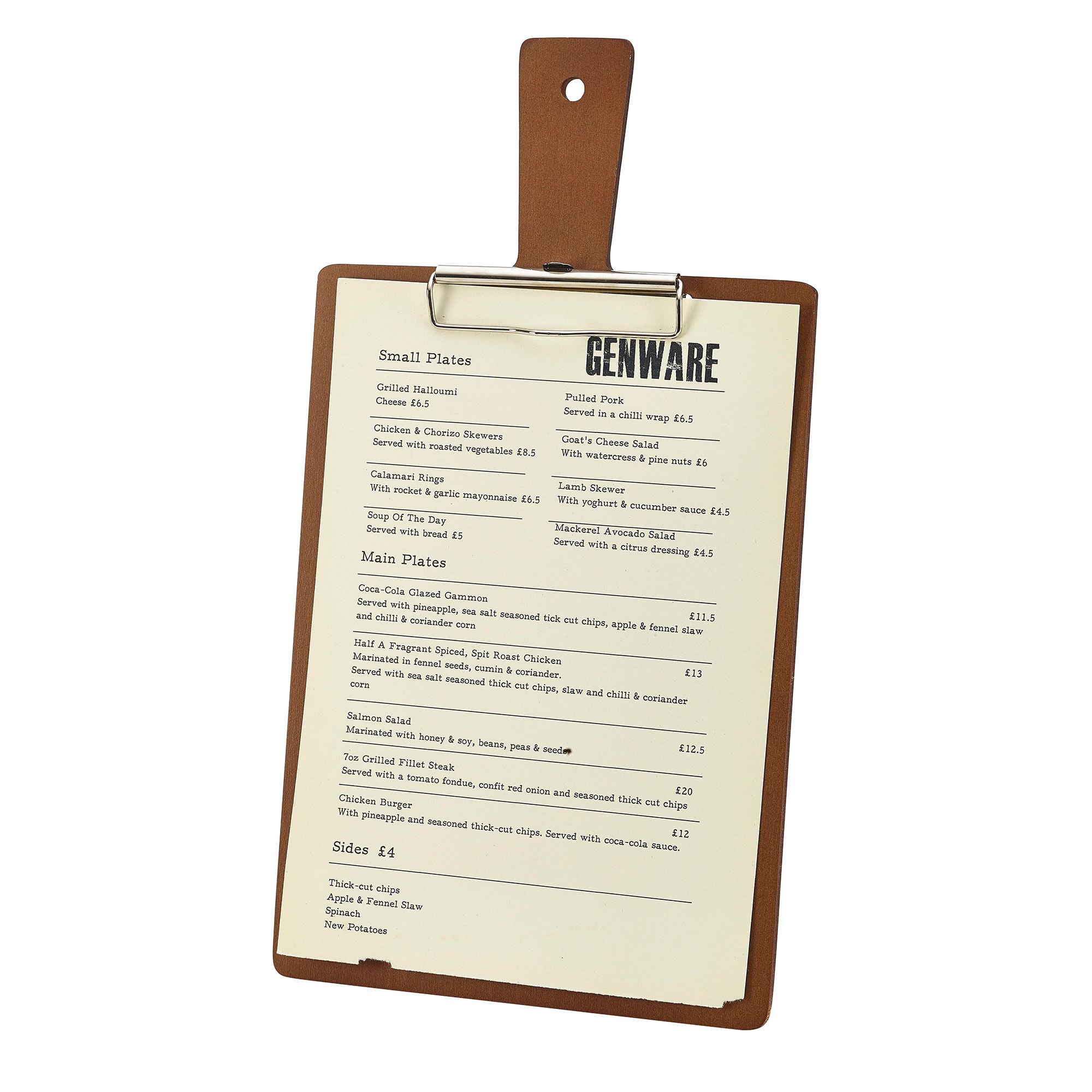 Genware Wooden Paddle Menu Board A4 At Drinkstuff