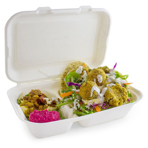 2 Compartment Clamshell Bagasse Takeaway Food Box 7inch