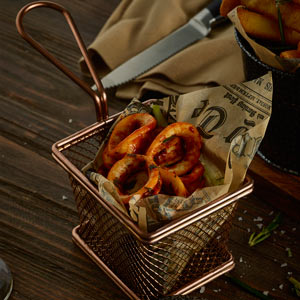 Genware Mini Presentation Fry Basket Copper 10 x 8 x 7.5cm
