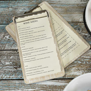 White Wash Wooden Wine List Clipboard
