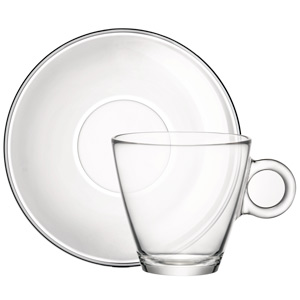Easy Bar Glass Cappuccino Cups and Saucers 6oz / 170ml
