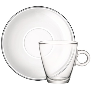 Easy Bar Glass Tea Cup and Saucer 11.25oz / 320ml