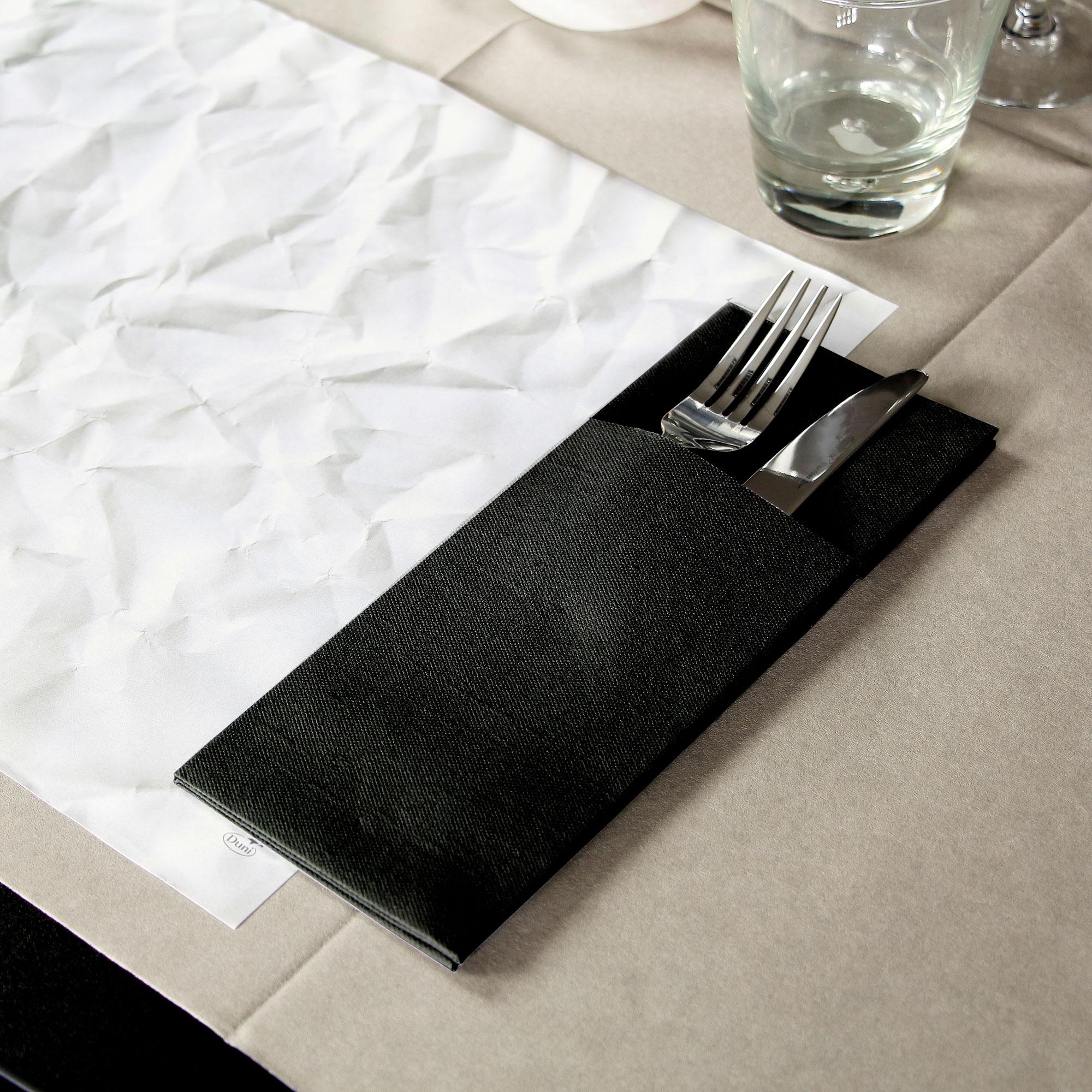 Duniletto Napkin Pockets Black 40 x 48cm & Duni Duniletto Black Napkin Pocket Cutlery Holder 40 x 48cm