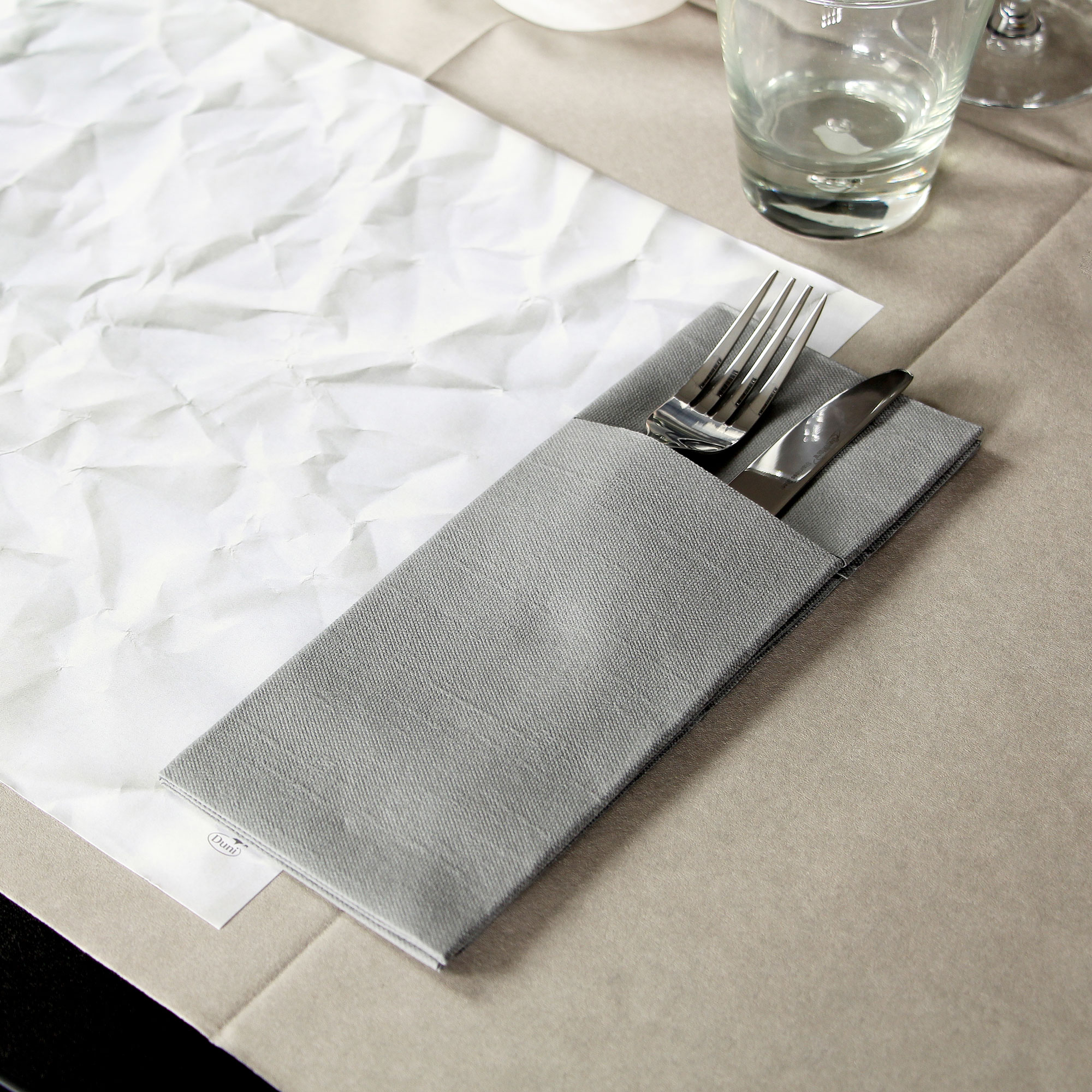 Duniletto Napkin Pockets Granite Grey 40 x 48cm & Duni Duniletto Grey Napkin Pocket Cutlery Holder 40 x 48cm