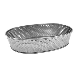 Brickhouse Stainless Steel Oval Diner Platter Brick Pattern 24.5cm