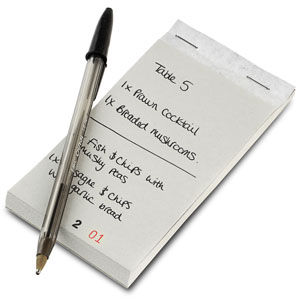 Restaurant Order Pad with Duplicate Sheet