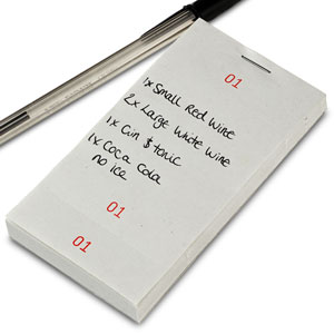Single Part Restaurant Order Pad