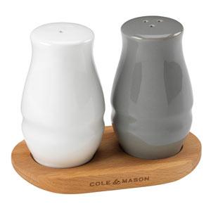 Cole & Mason Ceramic & Wood Salt and Pepper Shaker Set