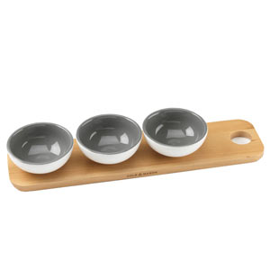 Cole & Mason Ceramic Dipping Bowls with Wooden Tray