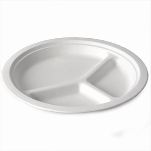 Dispo Bagasse 3 Compartment Round Plates 10inch