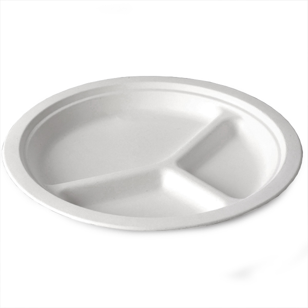 dispo bagasse 3 compartment round plate at drinkstuff