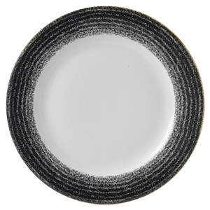 Studio Prints Homespun Rimmed Plate Charcoal Black 10.87inch / 27.6cm