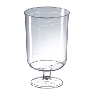 Premium One Piece Rigid Plastic Wine Glasses CE 7oz / 195ml