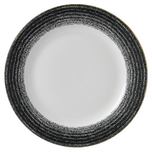 Studio Prints Homespun Rimmed Plate Charcoal Black 10.25inch / 26cm