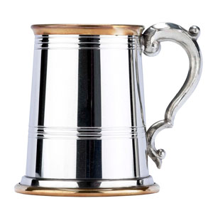 Brass Edged Pewter Pint Tankard 20oz / 568ml