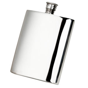 Square Pewter Hip Flask 6oz / 170ml