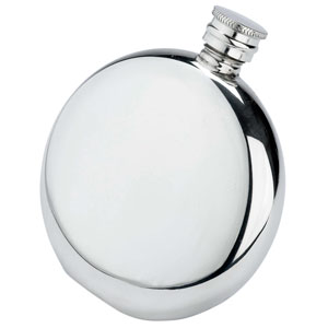 Circular Pewter Hip Flask 6oz / 170ml