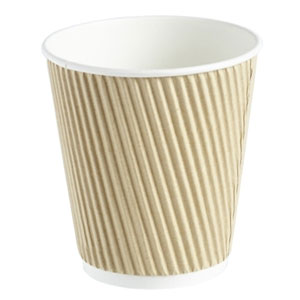 Kraft Ripple Disposable Paper Coffee Cups 10oz / 280ml