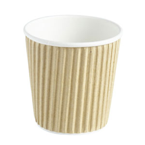 Kraft Ripple Disposable Paper Coffee Cups 4oz / 120ml