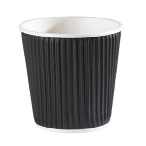 Kraft Black Ripple Disposable Paper Coffee Cups 4oz / 120ml