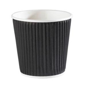 Kraft Black Ripple Disposable Paper Coffee Cups 4oz / 120ml