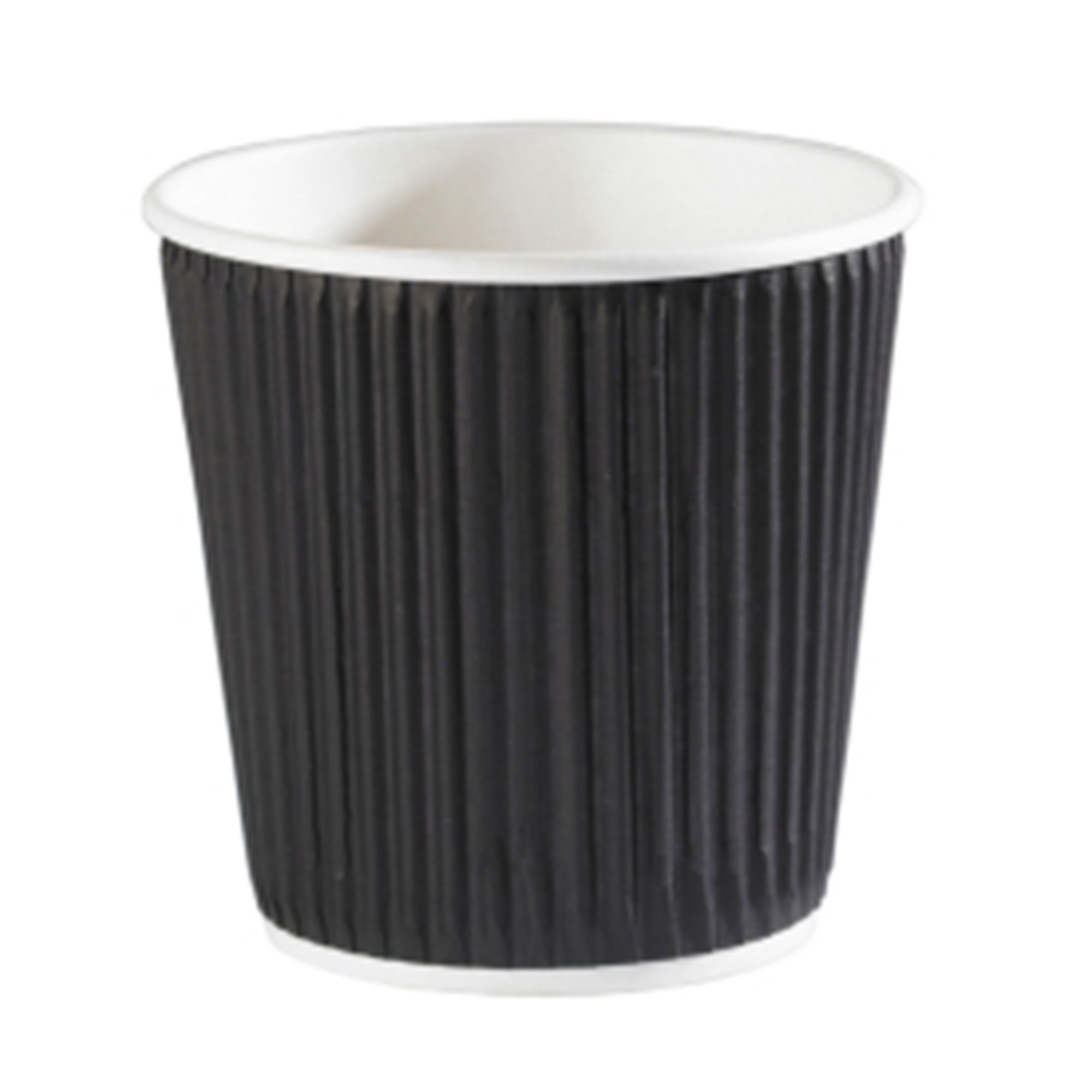 Kraft Black Ripple Disposable Paper Coffee Cups 4oz 120ml